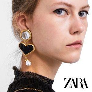 ZARA Oversized Black Heart Pearl Drop Earrings